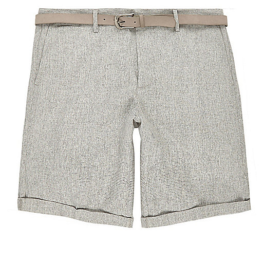 Light grey belted slim fit shorts