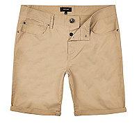 Tan slim fit bermuda shorts