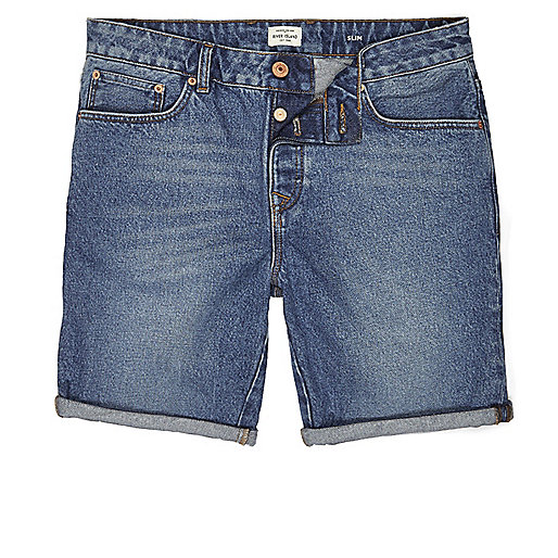 Blaue Slim Fit Jeansshorts