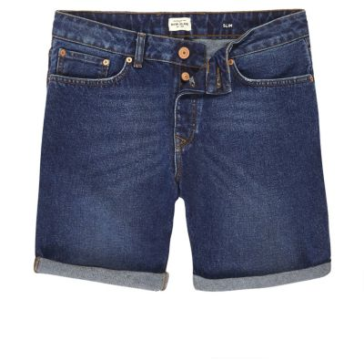 Donkerblauwe gewassen slim fit denim shorts