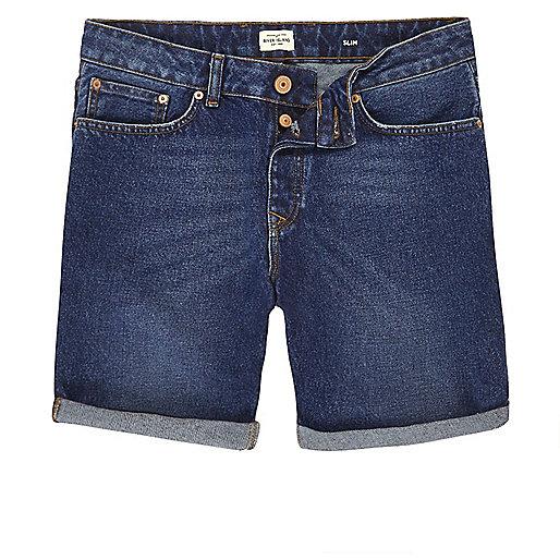 Short slim en jean délavage bleu foncé