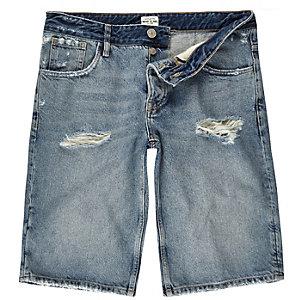 Mid blue wash wide leg denim shorts