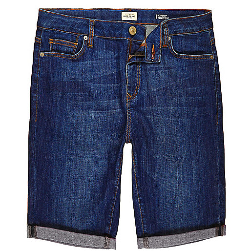 Blaue Skinny Fit Jeansshorts