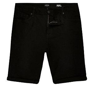 Schwarze Skinny-Fit-Jeansshorts