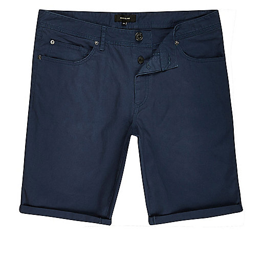 Blue skinny fit shorts