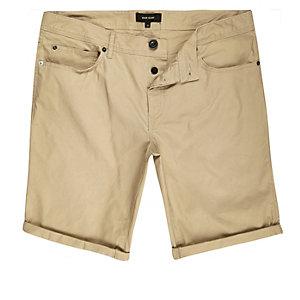 Tan skinny fit bermuda shorts