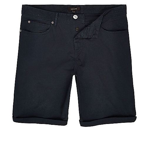 Navy slim five pocket  bermuda shorts