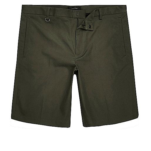 Green sateen skinny fit bermuda shorts