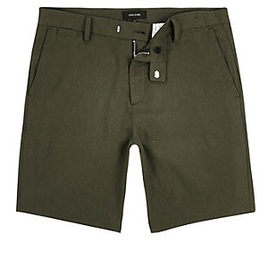 Khaki slim fit bermuda shorts