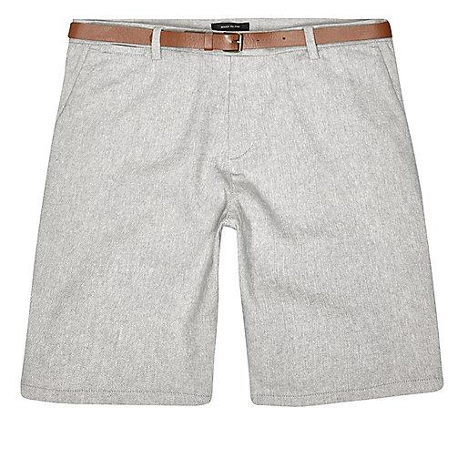 Grey slim fit belted bermuda shorts