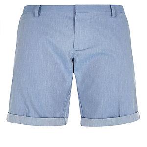 Bermuda bleu coupe slim à ceinture