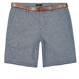 Light blue slim fit belted bermuda shorts