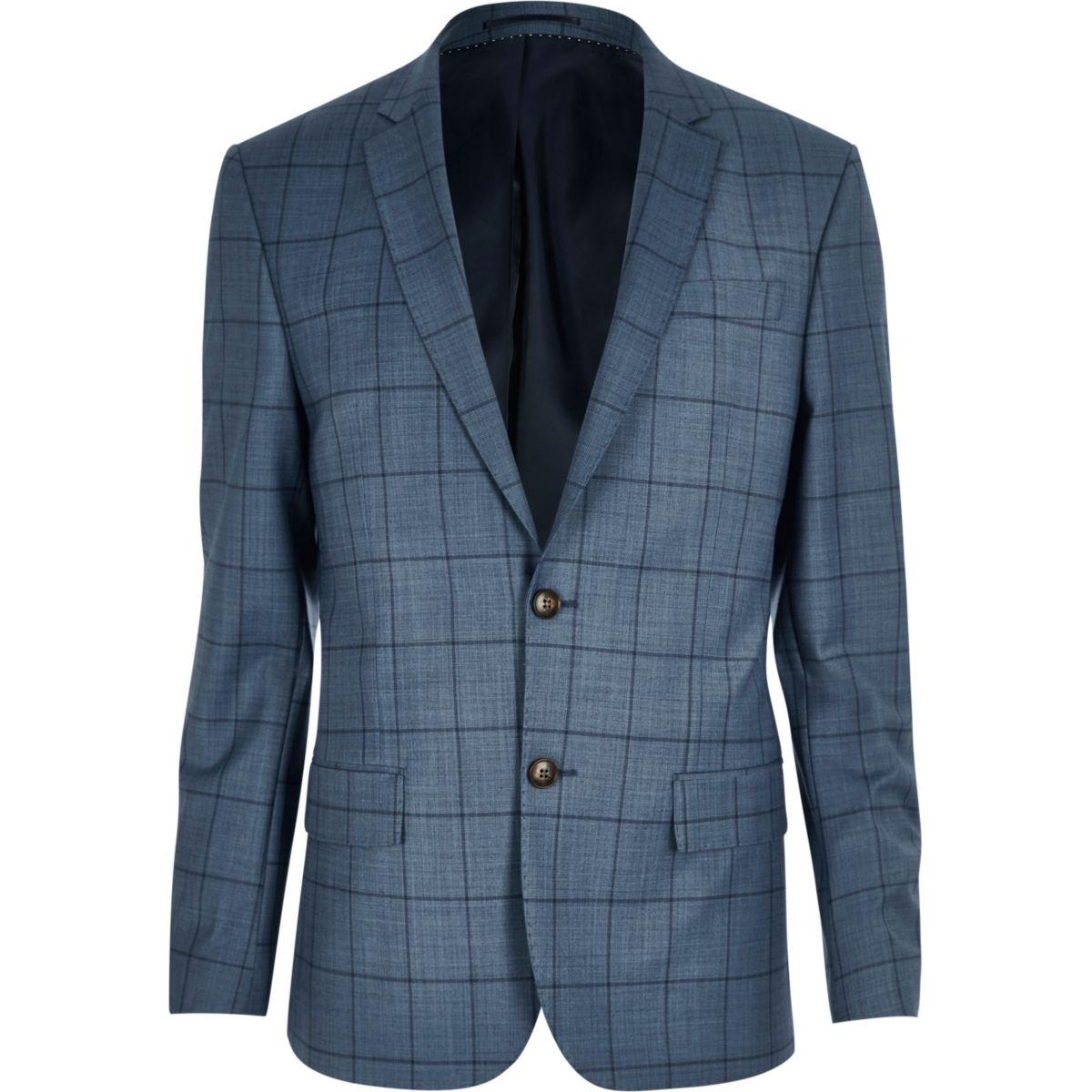 Veste de costume à carreaux bleue