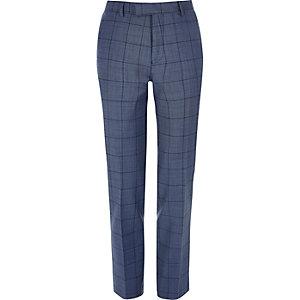Blue checked slim suit pants