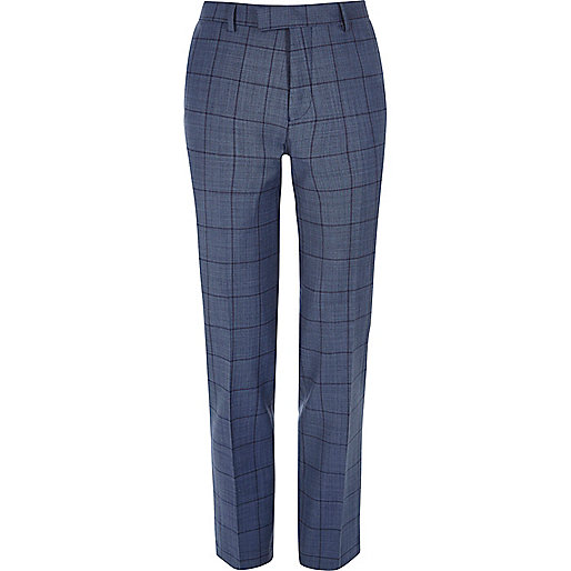 Blue checked slim suit trousers