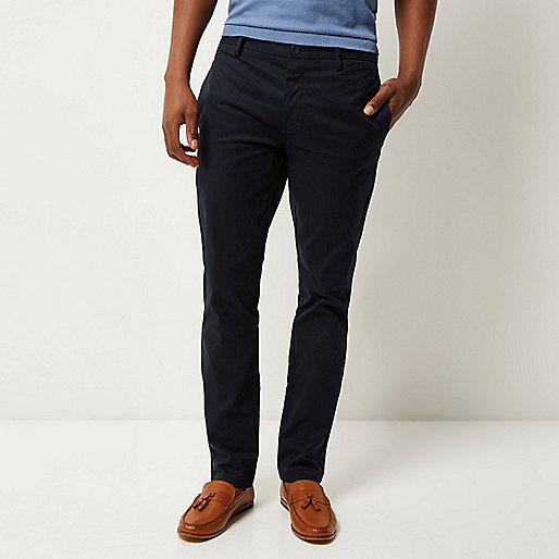 Pantalon chino bleu marine stretch slim
