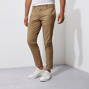 Tan stretch slim fit chino trousers