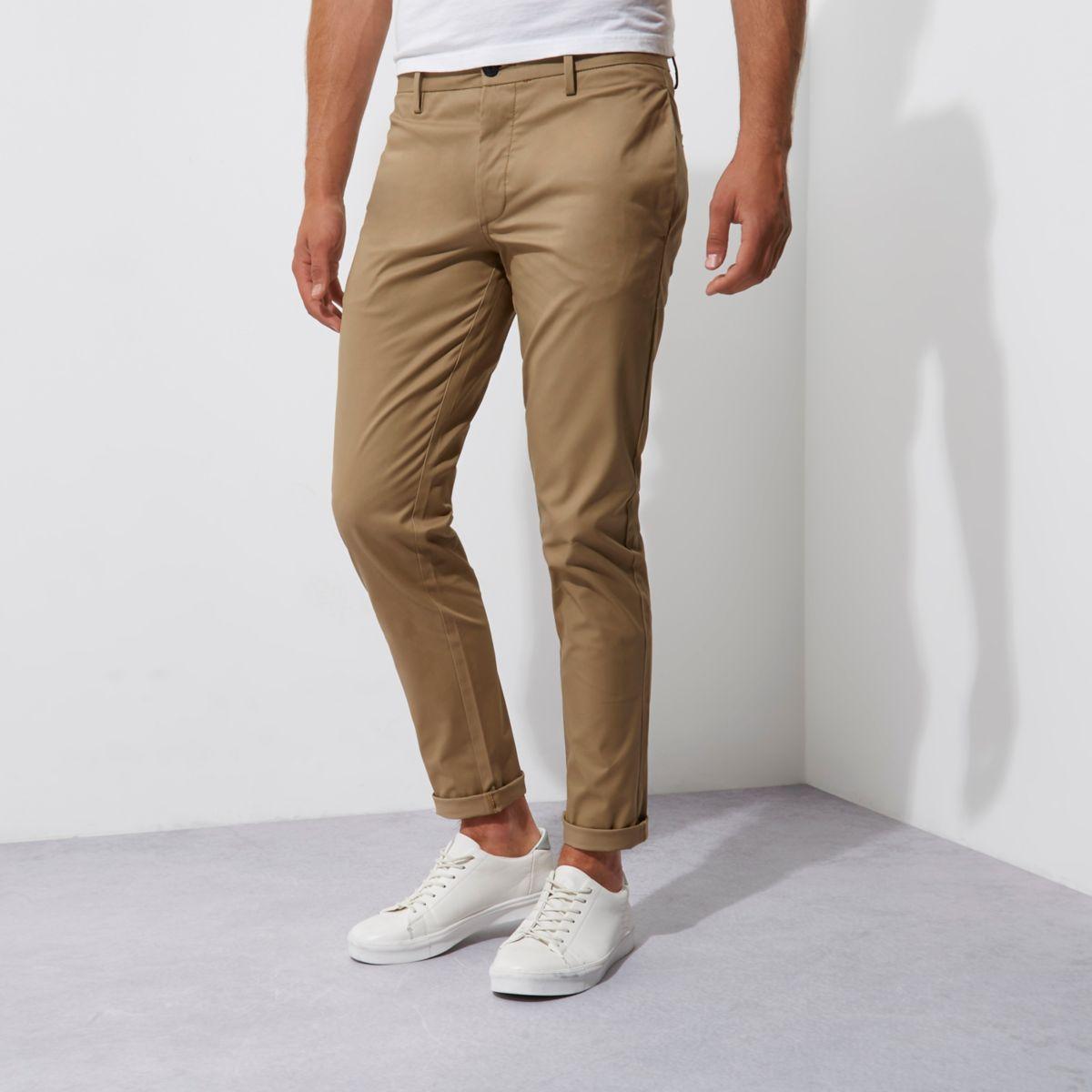 Pantalon chino slim stretch fauve