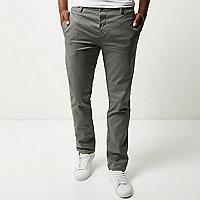 Grey stretch slim chino pants