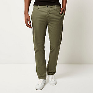 Green stretch slim chino trousers