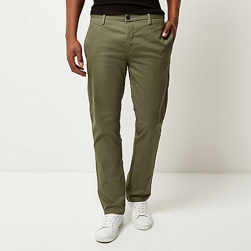 Green stretch slim chino trousers