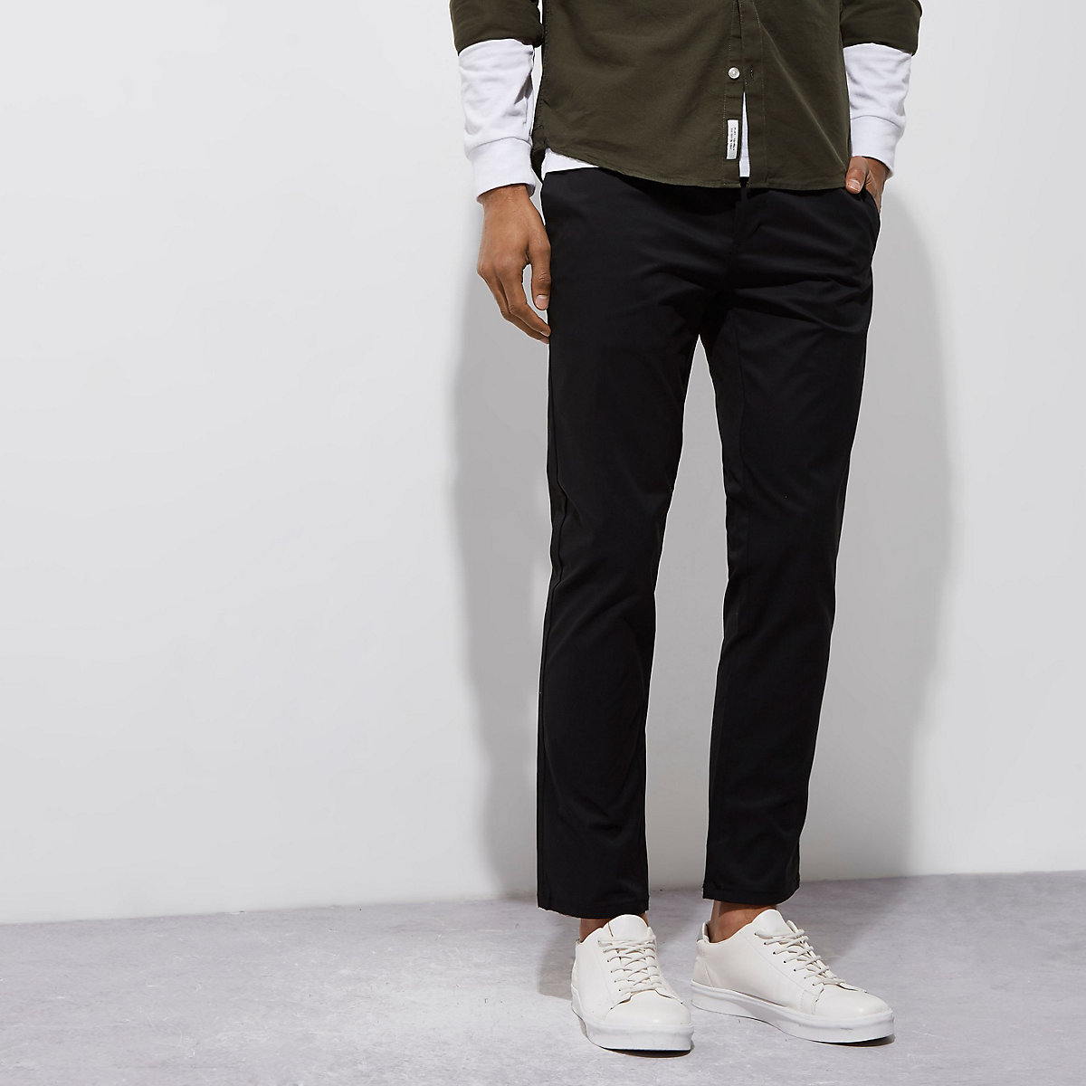 Black stretch slim chino pants