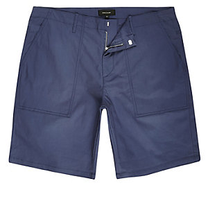 Short chino habillé bleu coupe slim