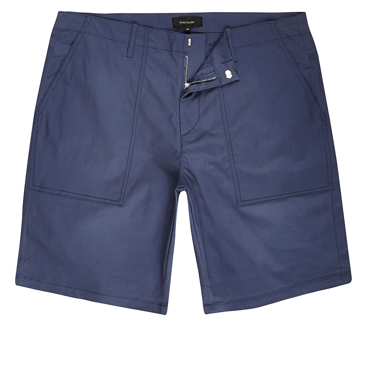 Short chino habillé bleu coupe slim