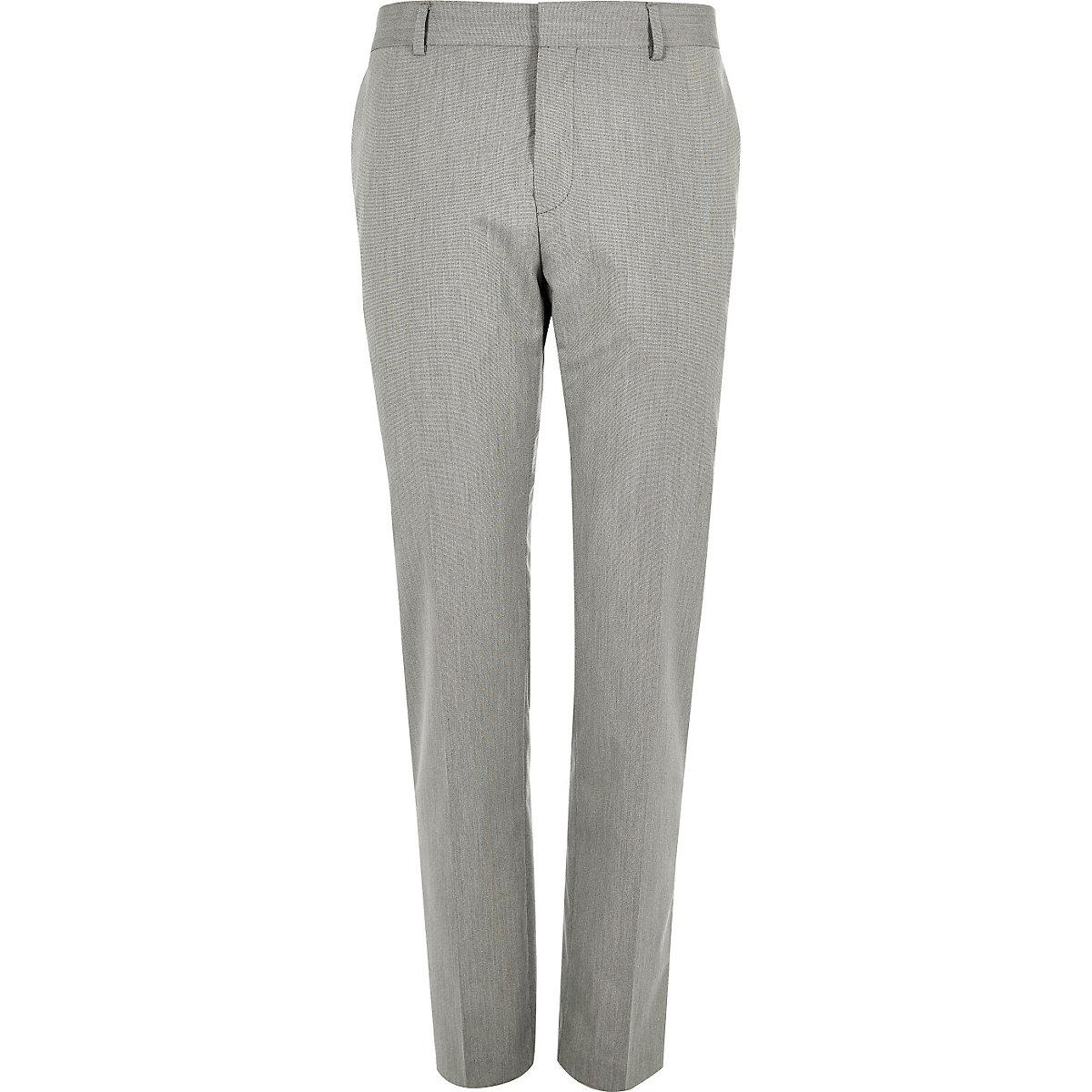 Grey slim suit trousers