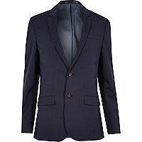 Dark blue skinny fit suit jacket