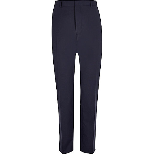 Dark blue tailored suit pants