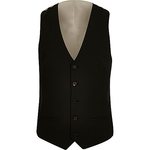 Black slim fit vest