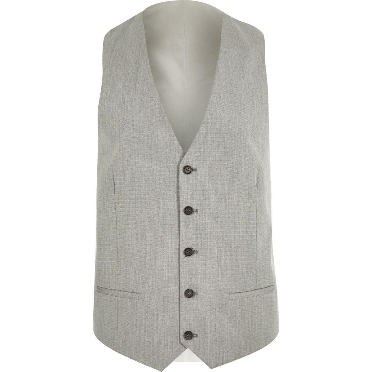 Grey slim suit vest