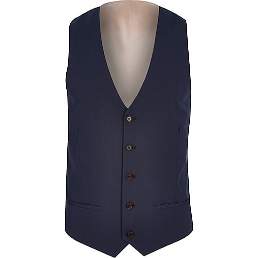 Dark blue five button vest