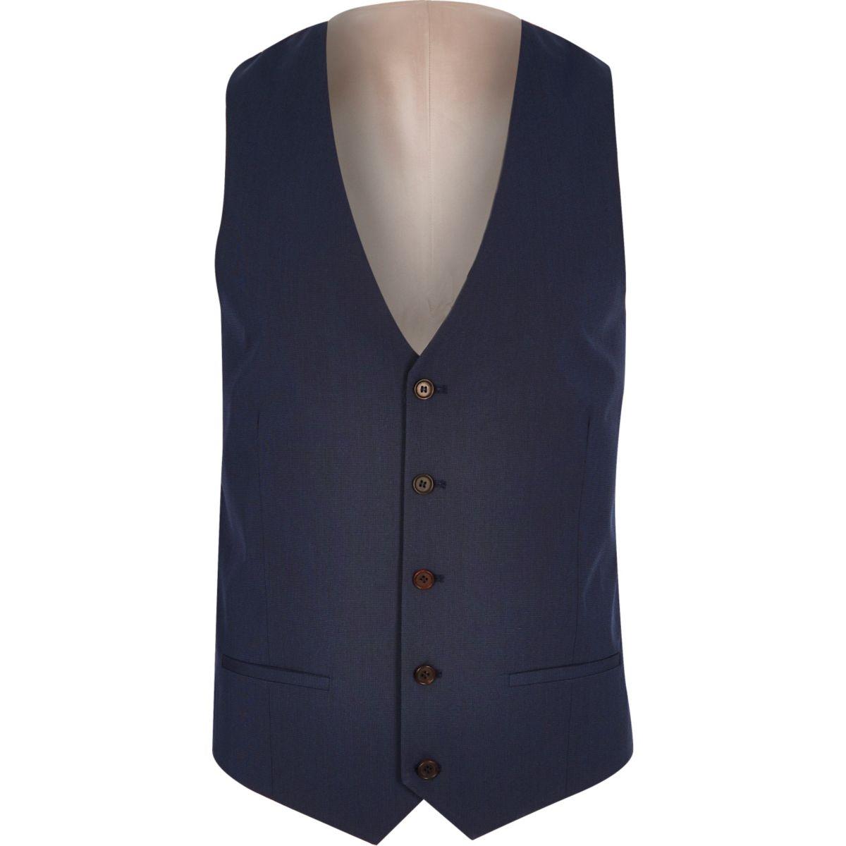 Dark blue five button vest