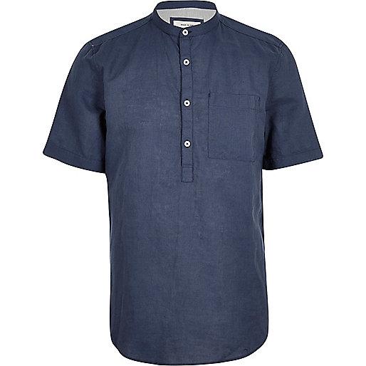 Blue linen-rich grandad collar shirt