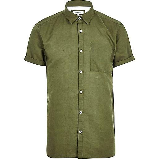 Green linen-rich short sleeve shirt