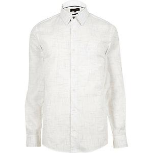 White yarn print shirt