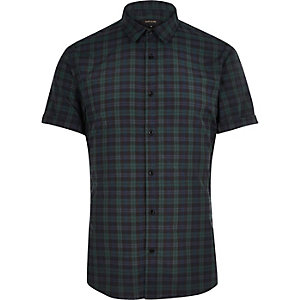 Dark green check slim fit shirt