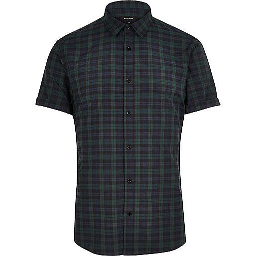 Dark green check slim fit shirt