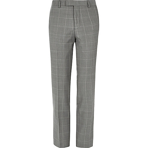 Grey checked slim suit trousers