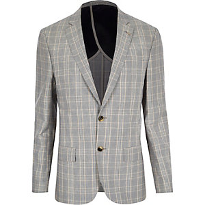 Blue check slim blazer