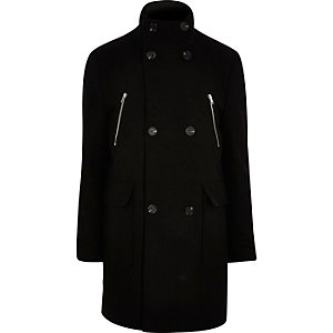 Black double breasted funnel neck coat