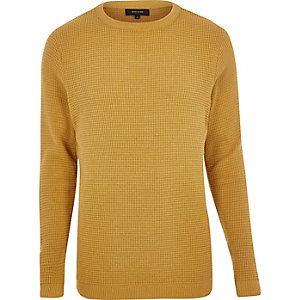 Mustard textured waffle sweater