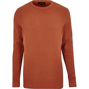 Dark orange textured waffle sweater