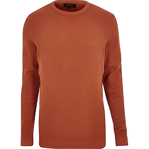 Dark orange textured waffle jumper