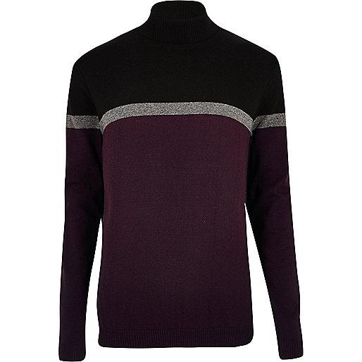 Dark purple block roll neck jumper