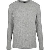 Light grey plain knitted sweater