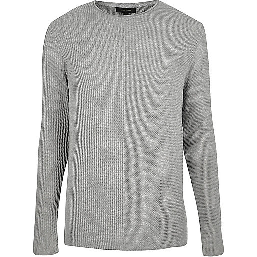 Light grey plain knitted jumper