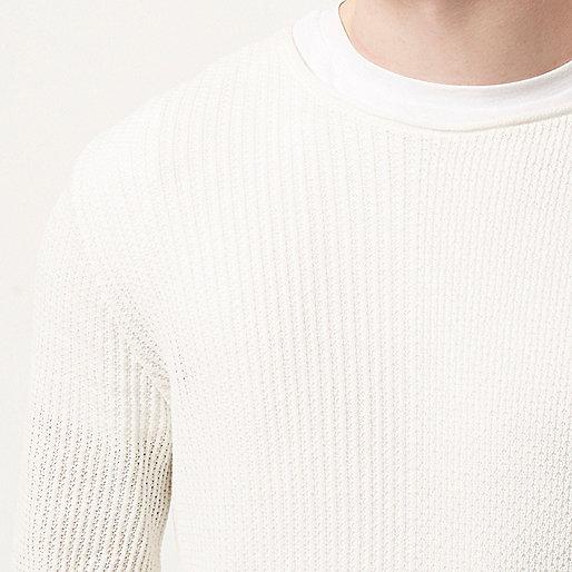 Ecru stitch block sweater